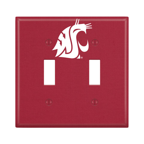 Crimson WSU Double Light Switch Cover