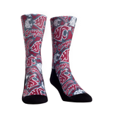 WSU Rock em Socks Crimson Graffiti Crew Socks