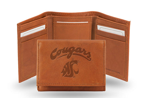 WSU Cougars Tan Leather Tri-Fold Wallet