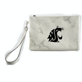 "8 1/2"" x 6"" White and Grey Marble Cougar Wristlet"
