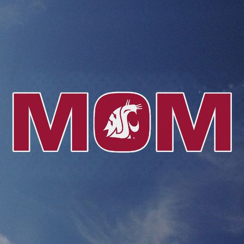 WSU Mom Decal with White Coug Logo