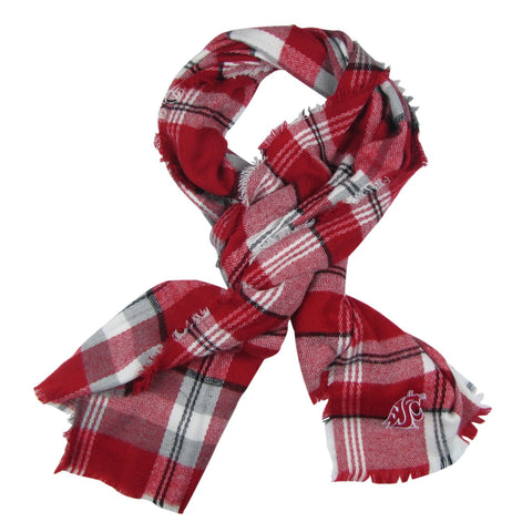 WSU Crimson and White plaid Scarf