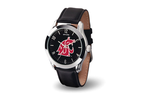 Black WSU Cougars Leather Band Watch