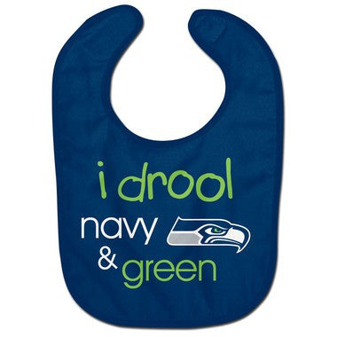 Drool Navy and Green Seahawks Baby Bib