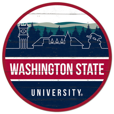 WSU Cougars Wooden Skyline 20x20 Circle Sign