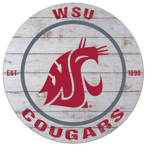 WSU Cougars Wooden Circle Sign