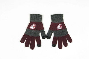 WSU Cougars Striped Gloves
