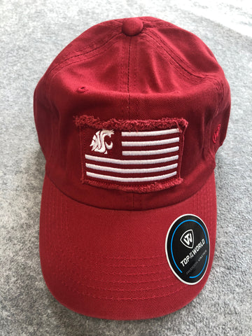 WSU Cougar Flag Adjustable Crimson Hat