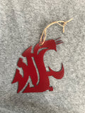 WSU Crimson Metal Ornament