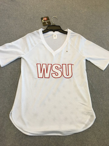 White Mesh WSU Women's Shirt
