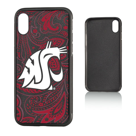 WSU Black and Crimson Paisley Cougar iPhone Case
