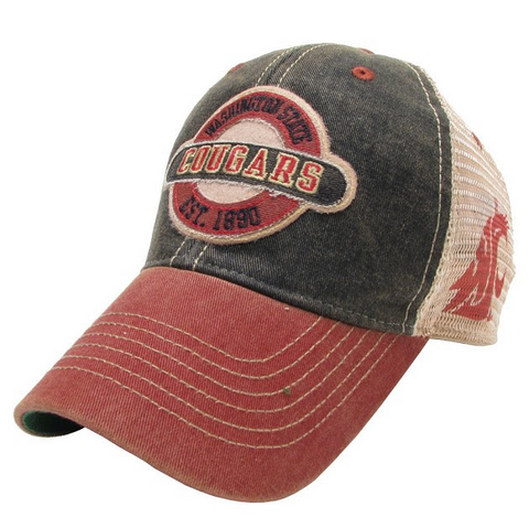 WSU Cougars Faded Brown and Crimson Mesh Legacy Hat