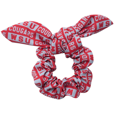 WSU Cougars hair scrunchie with bow