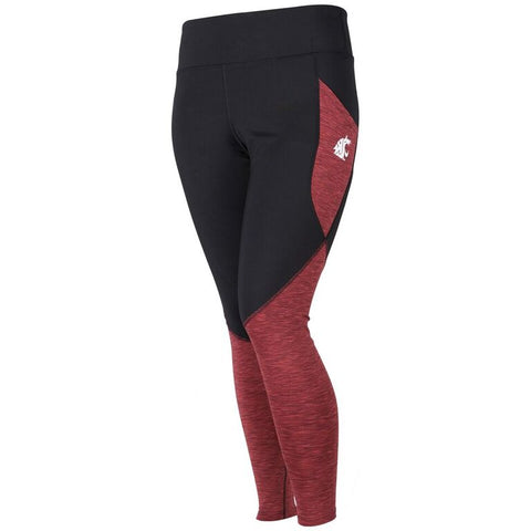 Ladies WSU Black and Crimson Pocket Leggings