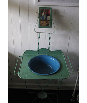 Green Wash Basin and Mirror