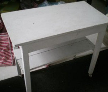 White Side-Table on Wheels