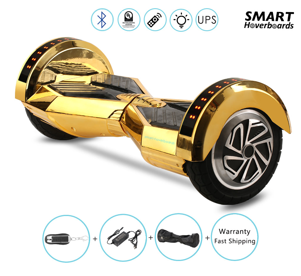8 Lambo Chrome Gold Hoverboard With Remote Bluetooth Lights Smart