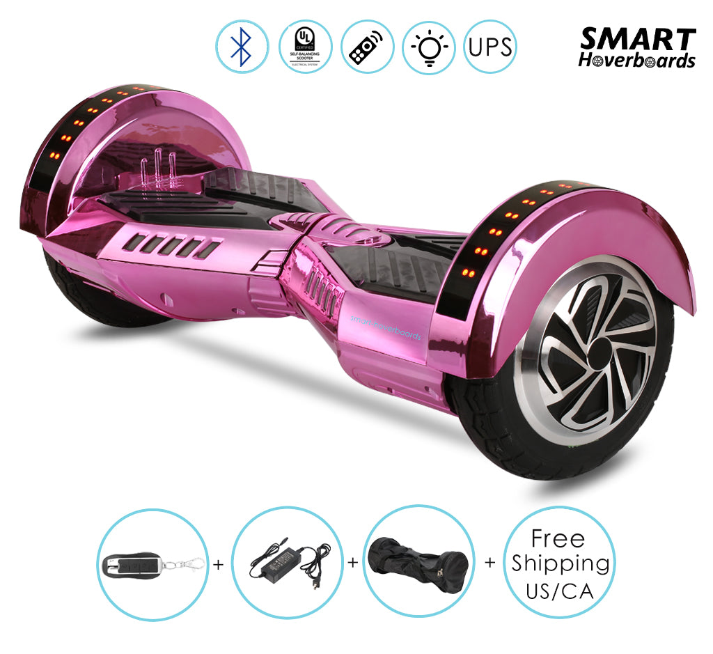 8 Quot Lambo Chrome Pink Hoverboard With Remote Bluetooth Speakers Smart Hoverboards