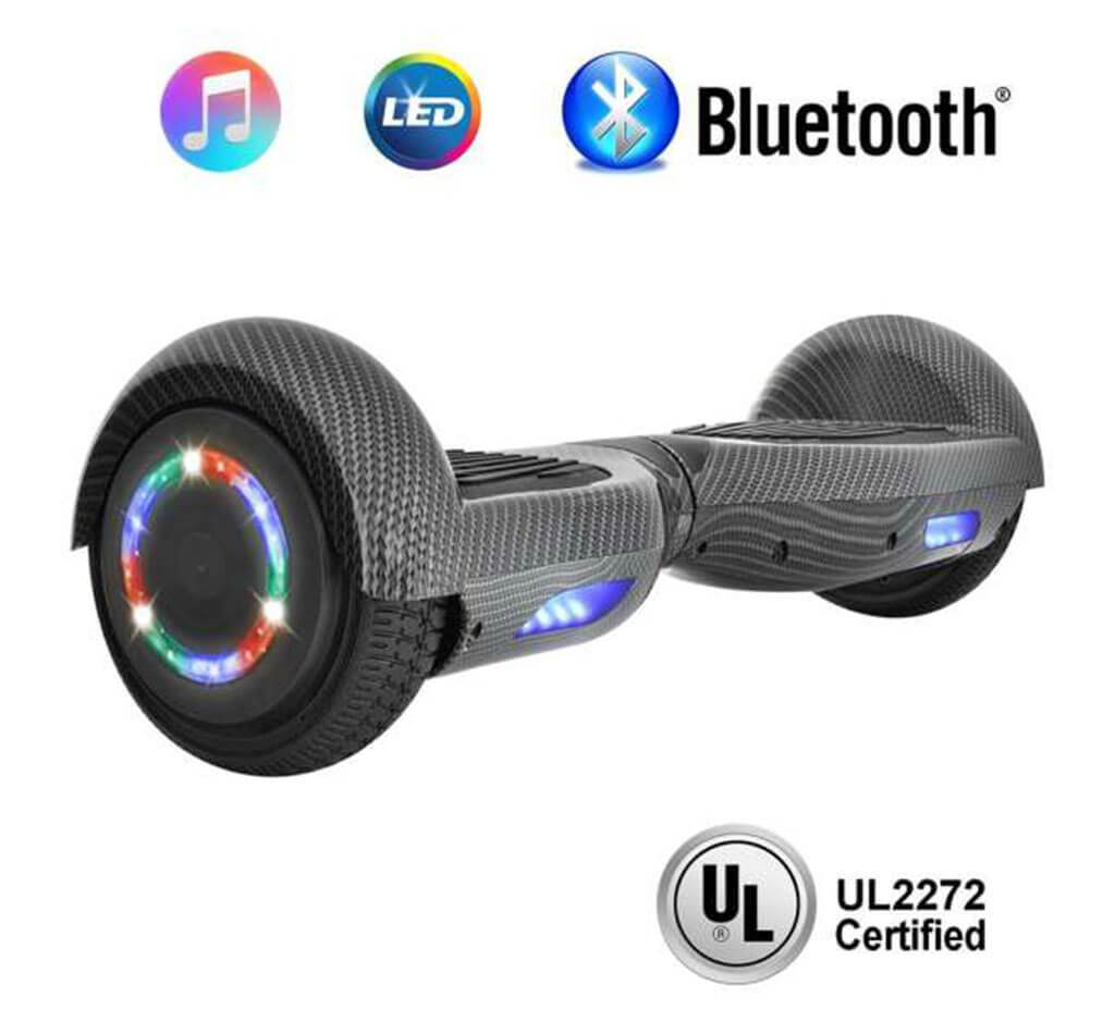 "... 6.5"" CARBON FIBER HOVERBOARD WITH LED WHEELS,BLUETOOTH SPEAKER AND UL- 2272 CERTIFIED ..."
