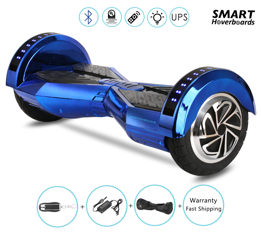 8 Quot Lamborghini Chrome Gold Hoverboard With Remote Bluetooth Lights Smart Hoverboards