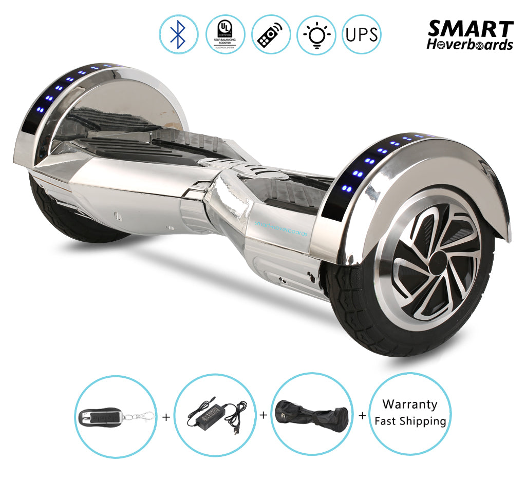 8 Quot Lambo Chrome Silver Hoverboard In Uk With Remote Bluetooth Lights Smart Hoverboards