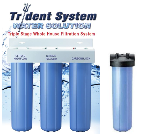 AlkaViva Trident 4-Stage Whole House Filter Maximum Chlorine and Fluoride Filtration