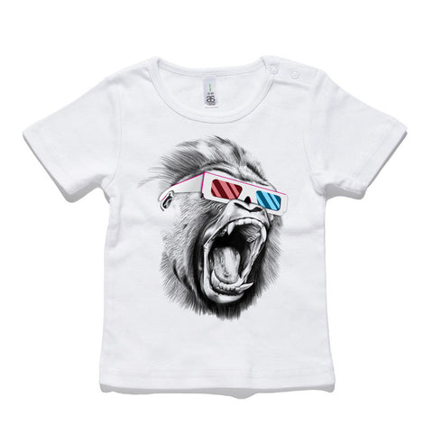 3D Gorilla 100% Cotton Baby T-Shirt