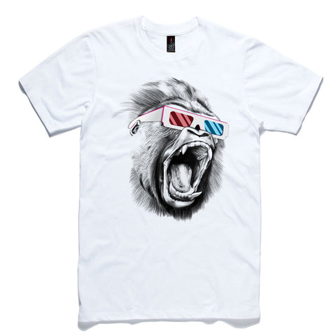 3D Gorilla White 100% Cotton T-Shirt