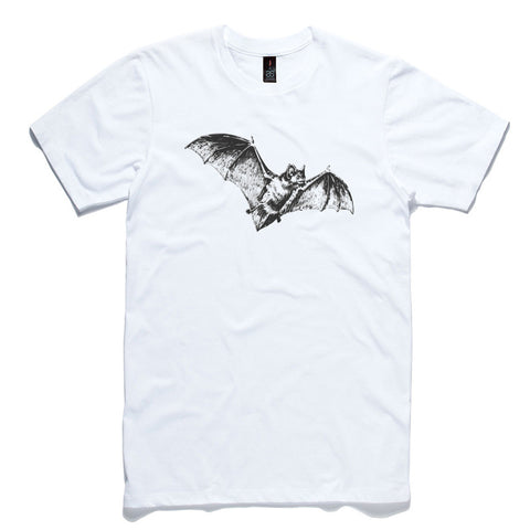 Flying Bat White 100% Cotton T-Shirt