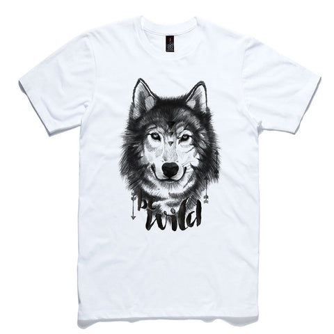 Be Wild Wolf White 100% Cotton T-Shirt