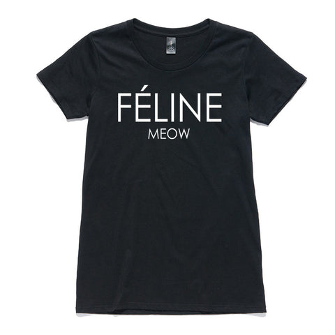 Feline Meow Black 100% Cotton T-Shirt