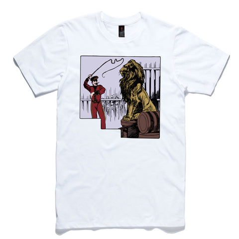 Lion Tamer White 100% Cotton T-Shirt