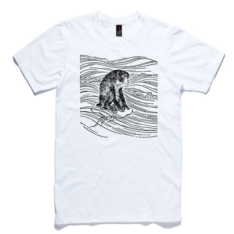 Monkey Riding A Jellyfish White 100% Cotton T-Shirt