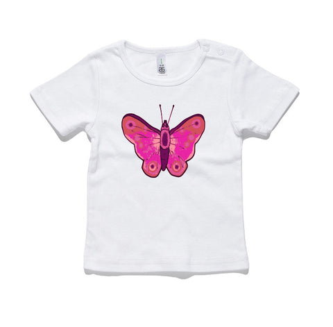 Pink Butterfly 100% Cotton Baby T-Shirt