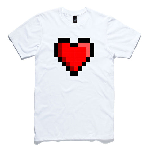 Pixel Heart White 100% Cotton T-Shirt