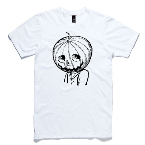 Pumpkin Head White 100% Cotton T-Shirt