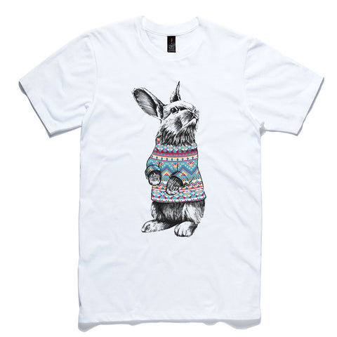 Rabbit Jumper White 100% Cotton T-Shirt