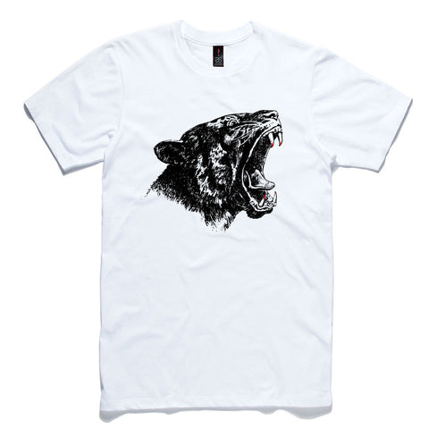Tiger Head White 100% Cotton T-Shirt