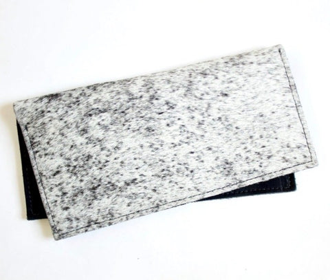The Audrey Circle Pouch // Salt & Pepper Hair-On