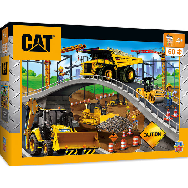 Caterpillar Under the Bridge Right Fit - Construction Trucks 60 Piece Kids Puzzle - Zolo's Room