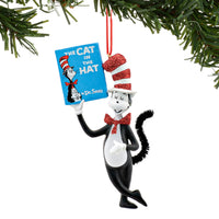 Dr Seuss Cat in the Hat Holding Book Ornament