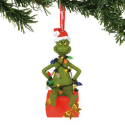 Grinch Wrapped in Lights Lit Ornament
