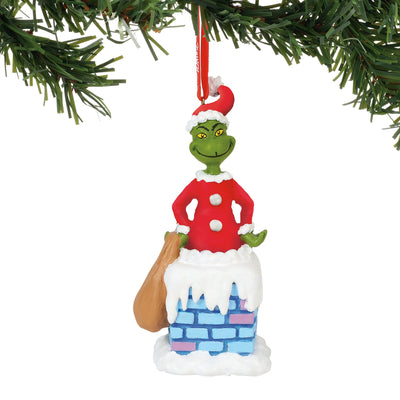 Grinch Into the Chimney Ornament