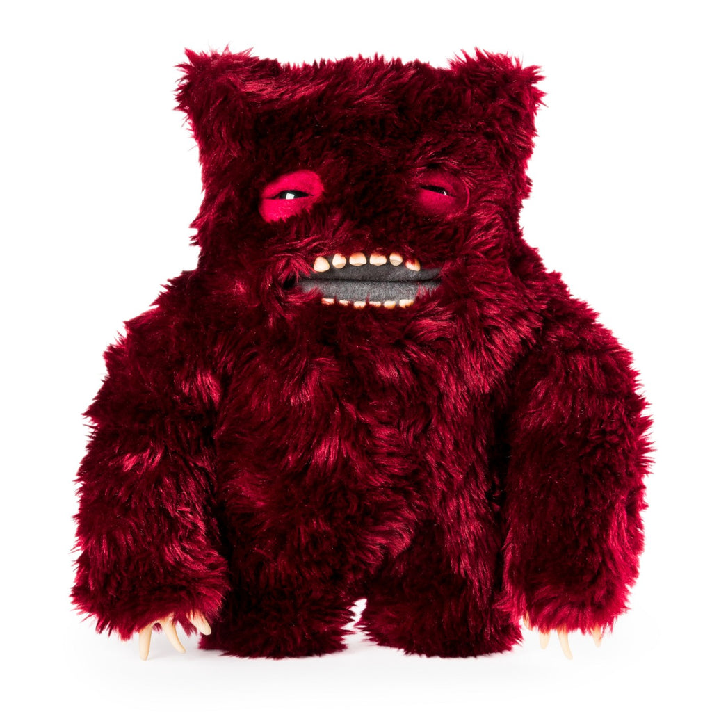 "Fuggler Funny Ugly Monster, 12"" Clawey Deluxe Plush Creature with Teeth - Dark Red"