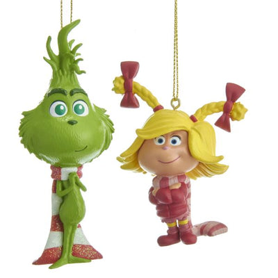 Grinch - Baby Grinch and Cindy Lou Ornaments - Set of 2 by Kurt Adler