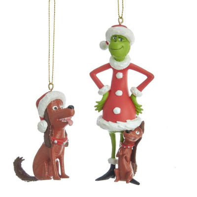 Grinch with Max and Santa Max Ornaments - Set of 2 by Kurt Adler