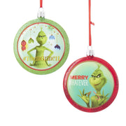 Grinch Red and Green Disc Ornaments - Set of 2 by Kurt Adler