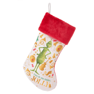Grinch Printed Christmas Stocking with Red Cuff by Kurt Adler