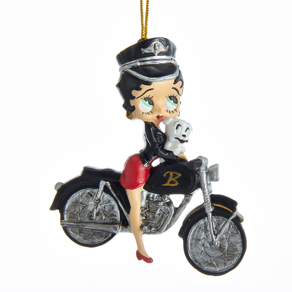 Betty Boop With Pudgy On Bike Ornament by Kurt Adler