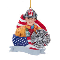 Firefighter with Flag and Badge for Personalization by Kurt Adler